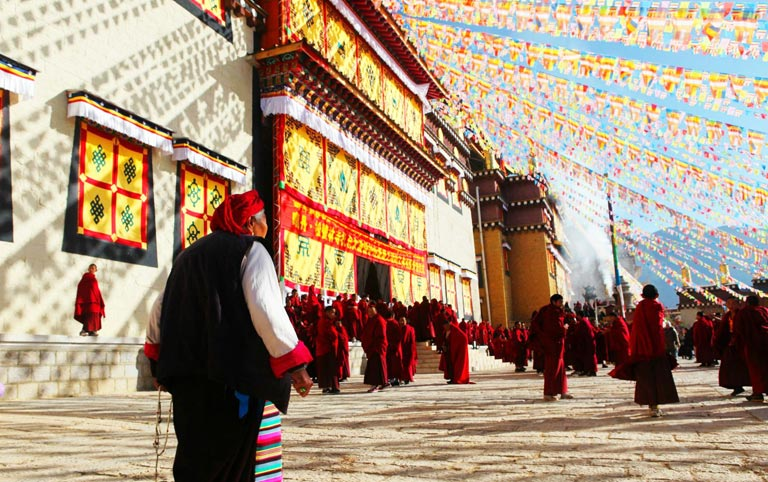 Tibetan Style Songzanlin Lamasery with Prayer Flags