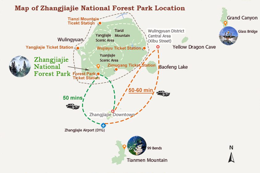 Zhangjiajie National Forest Park Location & Transportation Map
