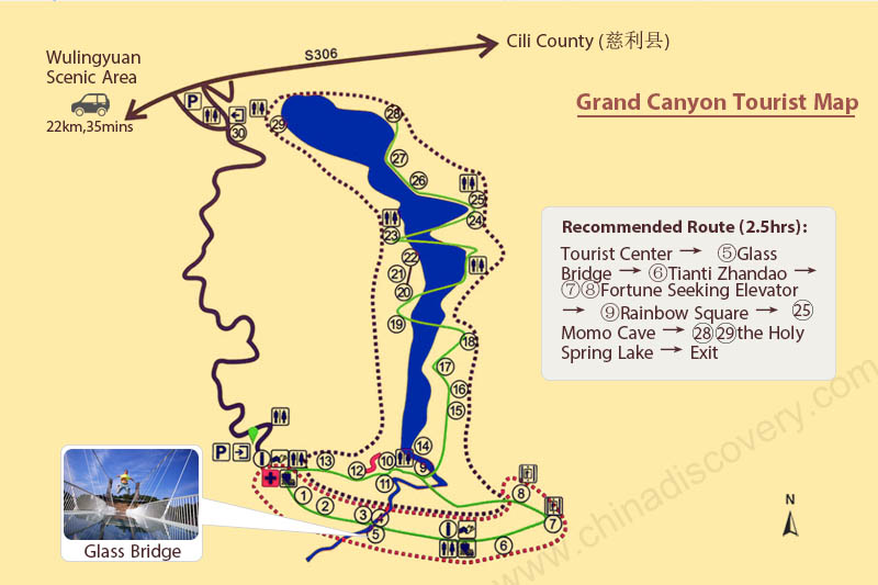 Zhangjiajie Grand Canyon Tourist Map