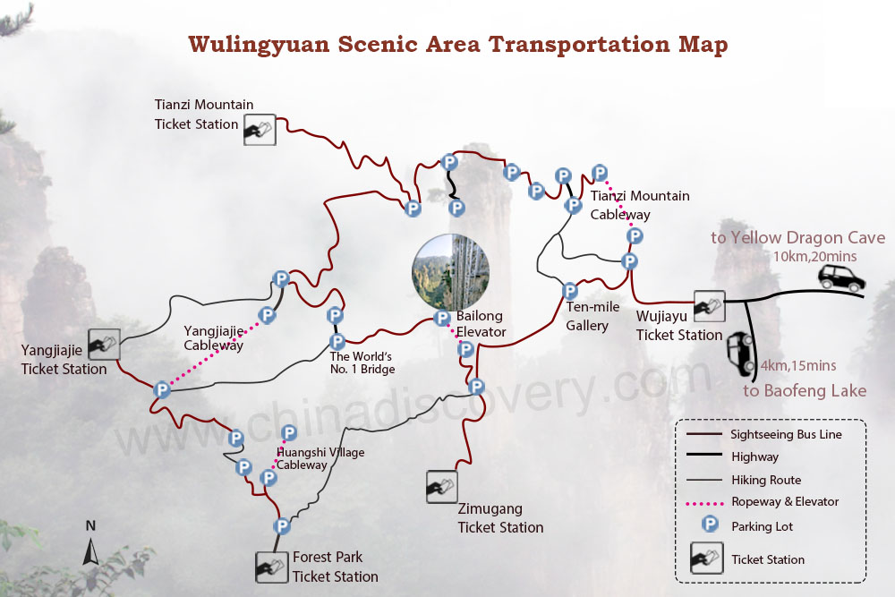 Wulingyuan Scenic Area Transportation Map