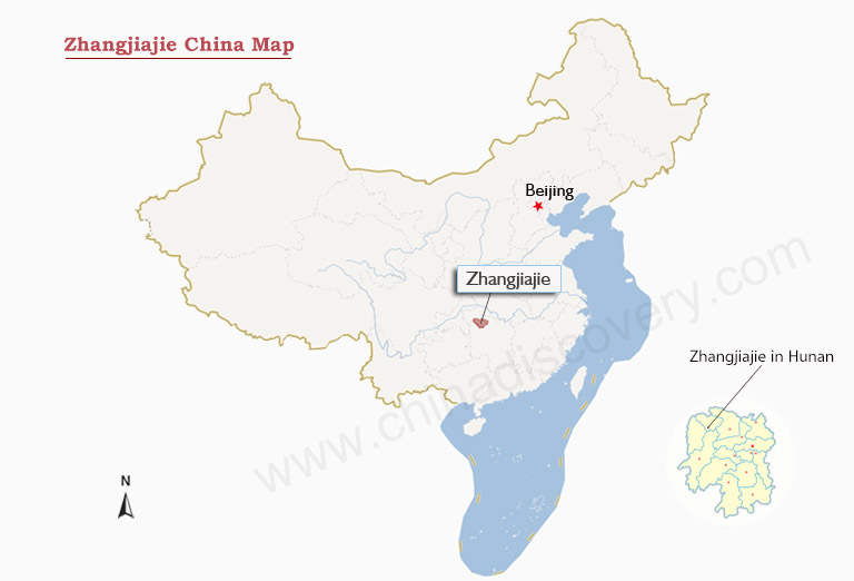 Zhangjiajie China Map