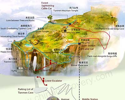 Zhangjiajie Tianmen Mountain Tourist Map