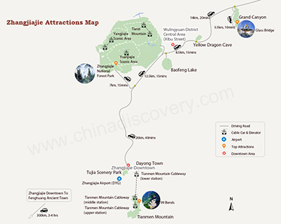 Zhangjiajie Attraction Map