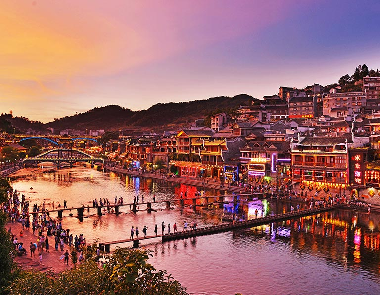 Amazing Night View of Fenghuang Ancient Town