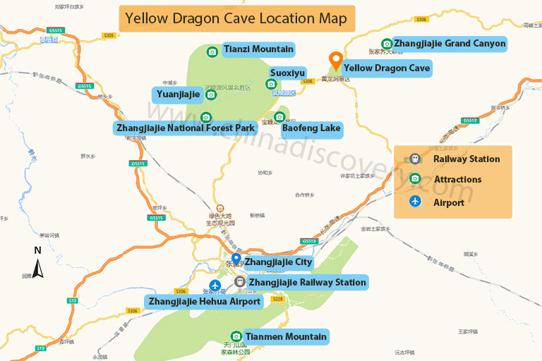 Yellow Dragon Cave Location Map