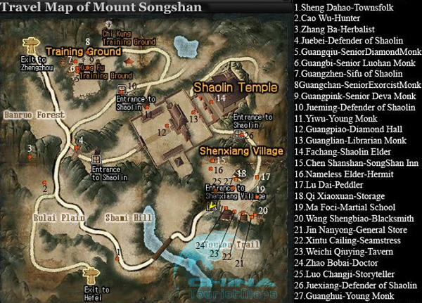 Dengfeng Maps Map of Shaolin Temple Mount Song