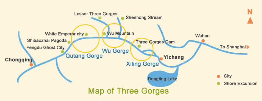 Map of Yangtze Three Gorges