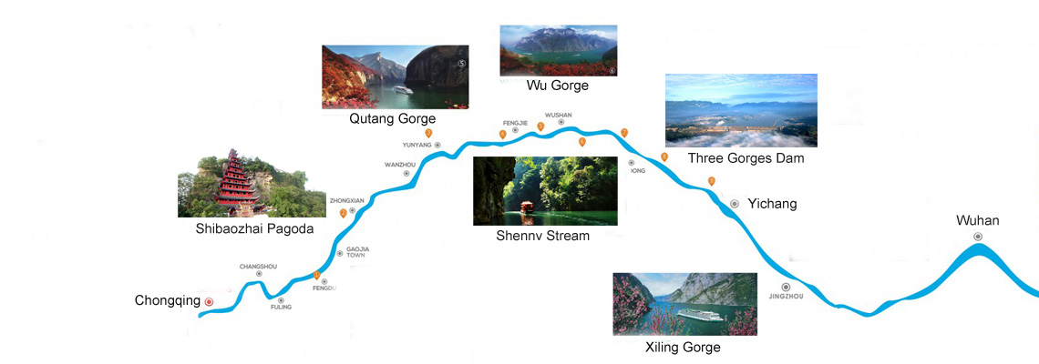 Century Cruises Yangtze Map