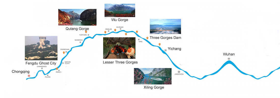 Yangtze Gold Cruises Yangtze Map
